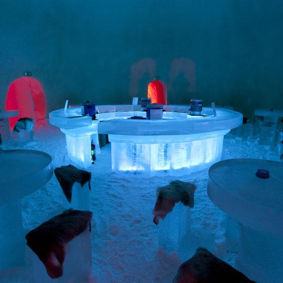 Snow Restaurant in Arctic SnowHotel, Rovaniemi, Lapland, Finland