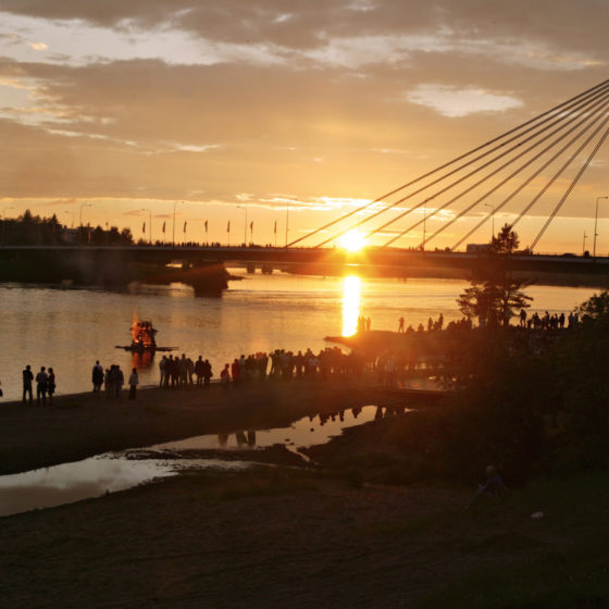 Midsummer celebration in Rovaniemi, Lapland, Finland