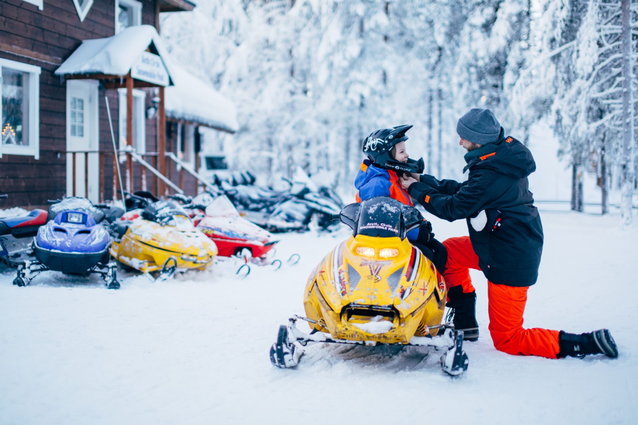 Mini-snowmobiles, Arctic Circle Snowmobile Park