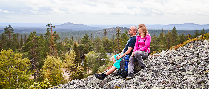 Couple enjoying the views in Pyhä-Luosto National Park an hour and a half from Rovaniemi