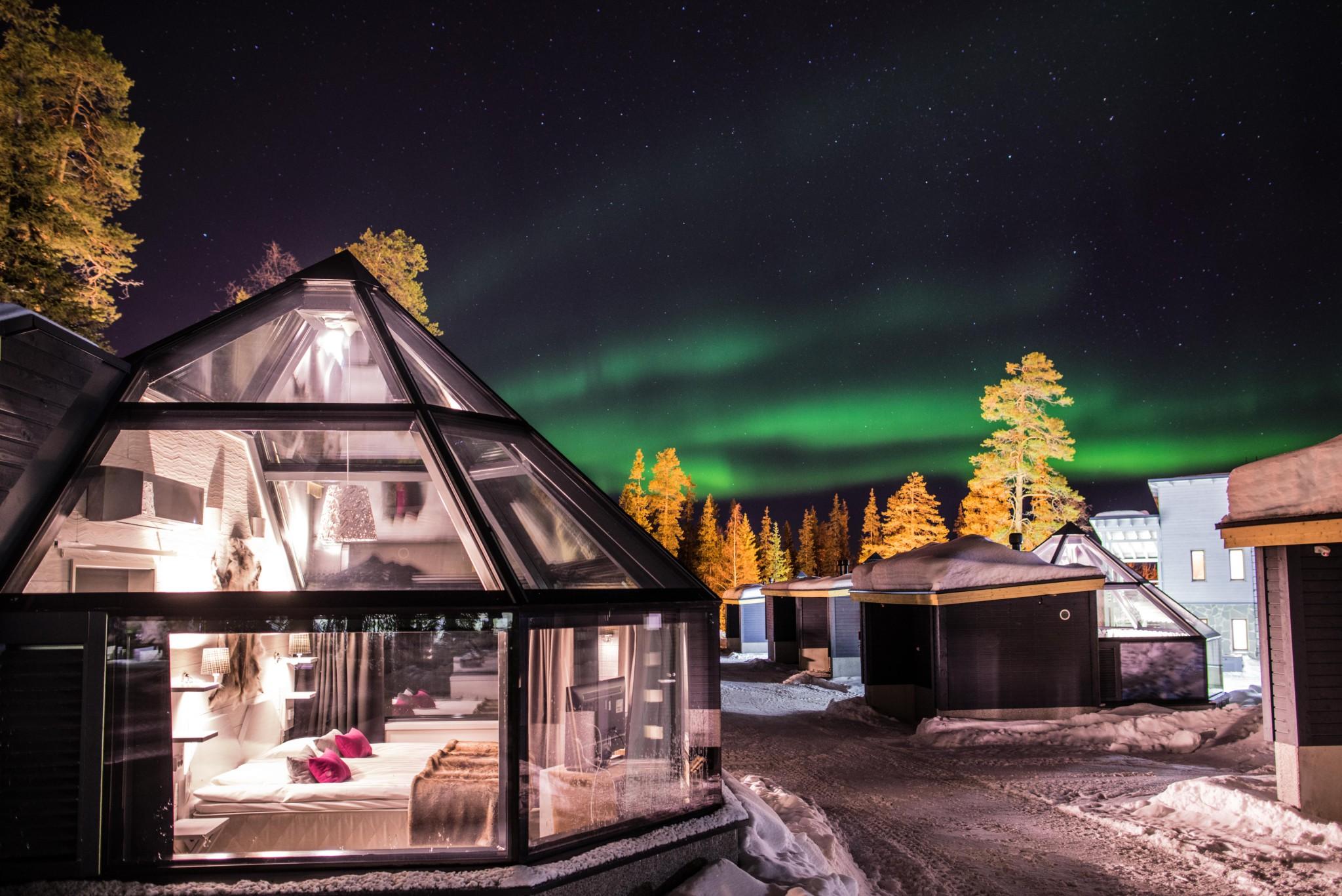 santa s igloos arctic circle in santa claus village rovaniemi lapland. Black Bedroom Furniture Sets. Home Design Ideas