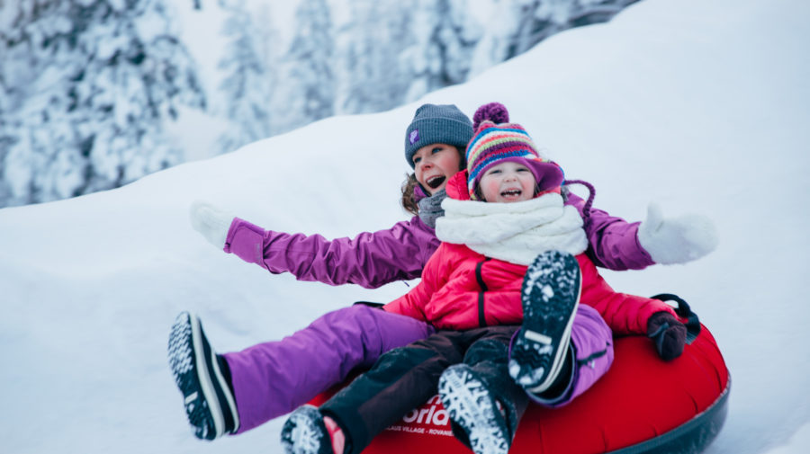 Ice slides are good fun for people of all ages!
