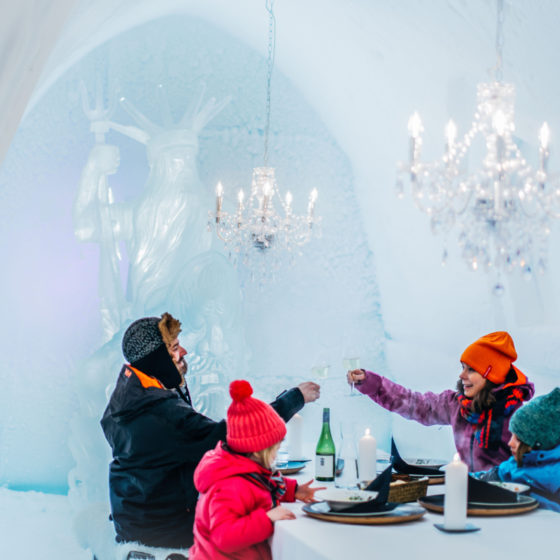 Dinner in Snowman world ice restaurant, Santa Claus Village, Rovaniemi