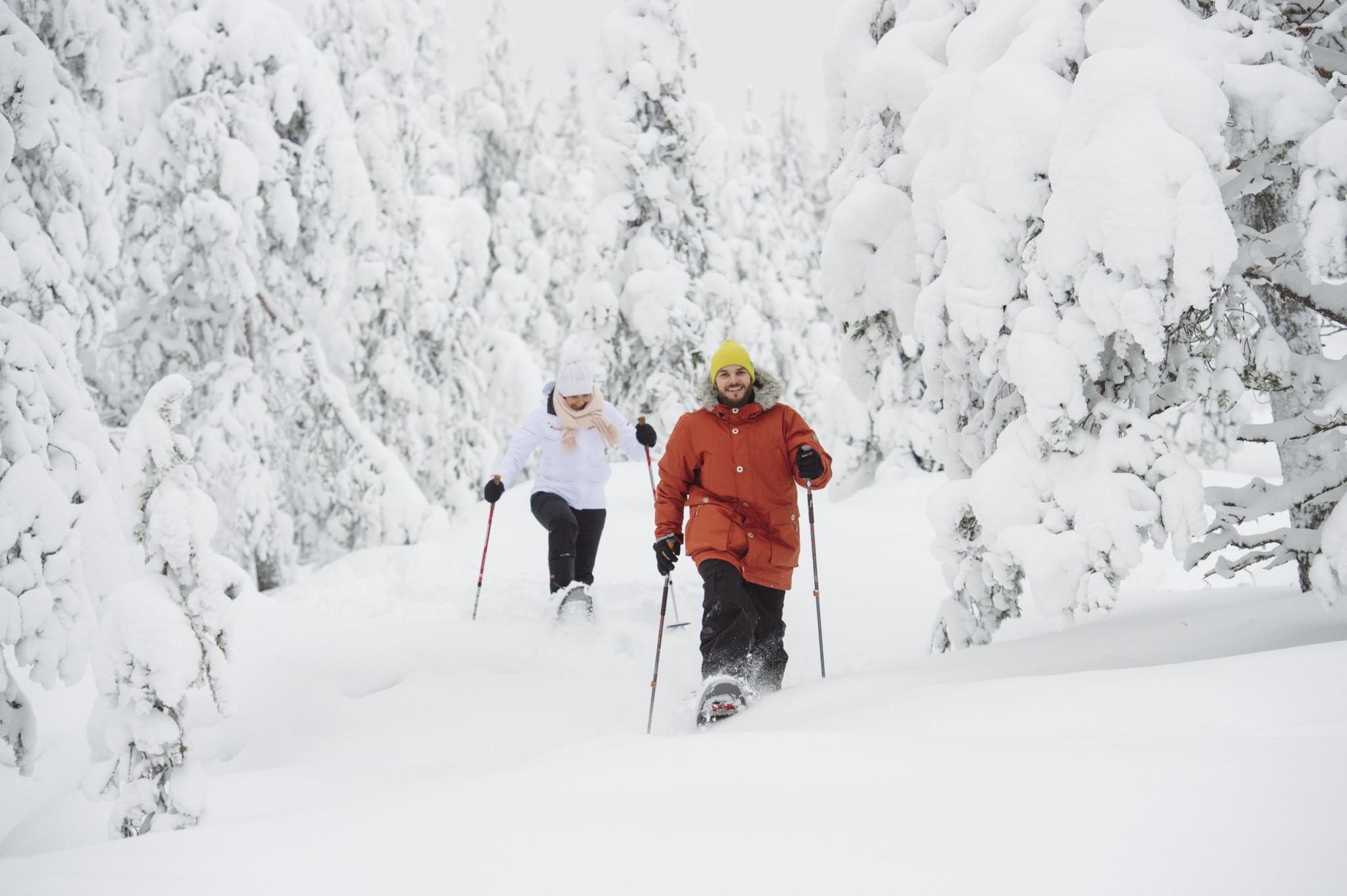 Snowshoeing in Ounasvaara, Rovaniemi, Lapland, Finland