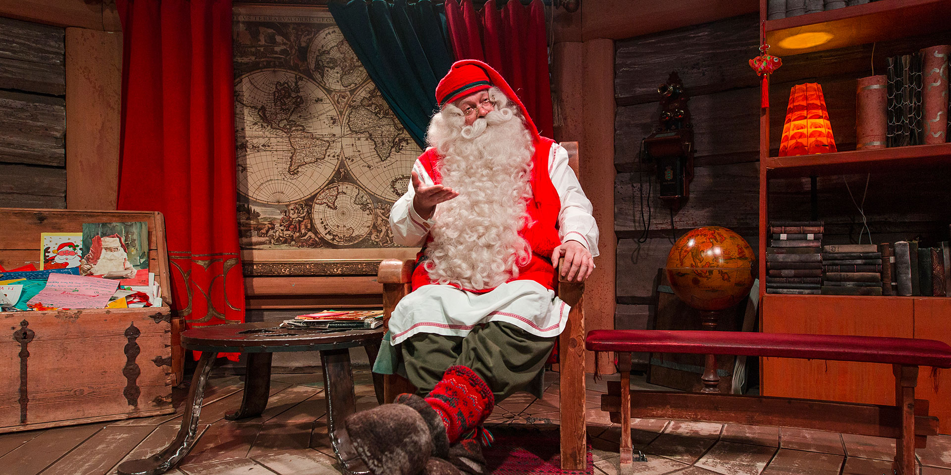 Santa Claus in his office in Rovaniemi, the Official Hometown of Santa Claus in Lapland, Finland