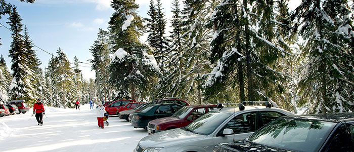 Parking lot at Ounasvaara outdoor area in Rovaniemi, the Official Hometown of Santa Claus