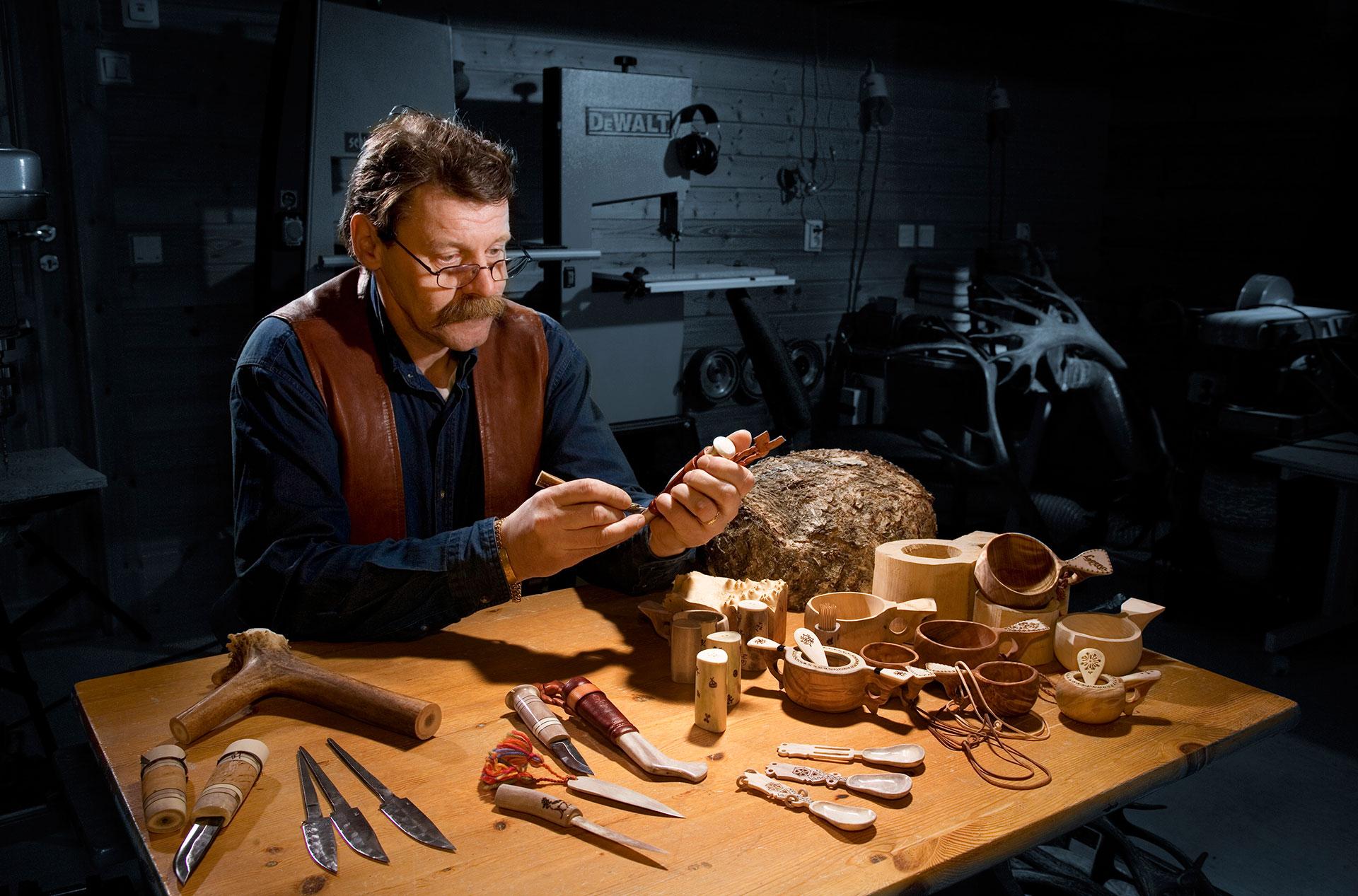 Ari Kangasniemi of Hornwork handicrafts workshop in his essence in Rovaniemi, Lapland, Finland
