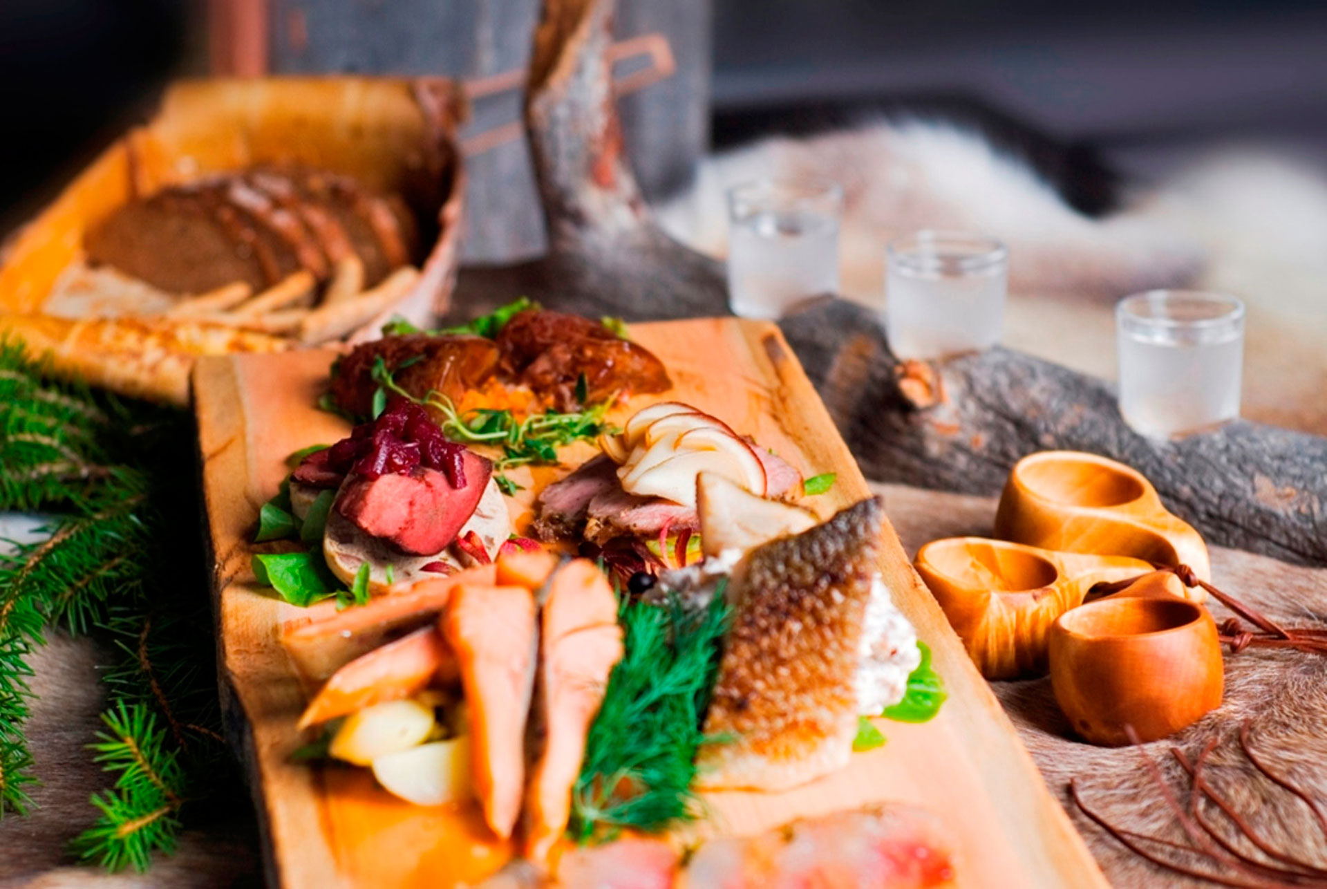 A tasty platter of local food in Rovaniemi, Lapland, Finland