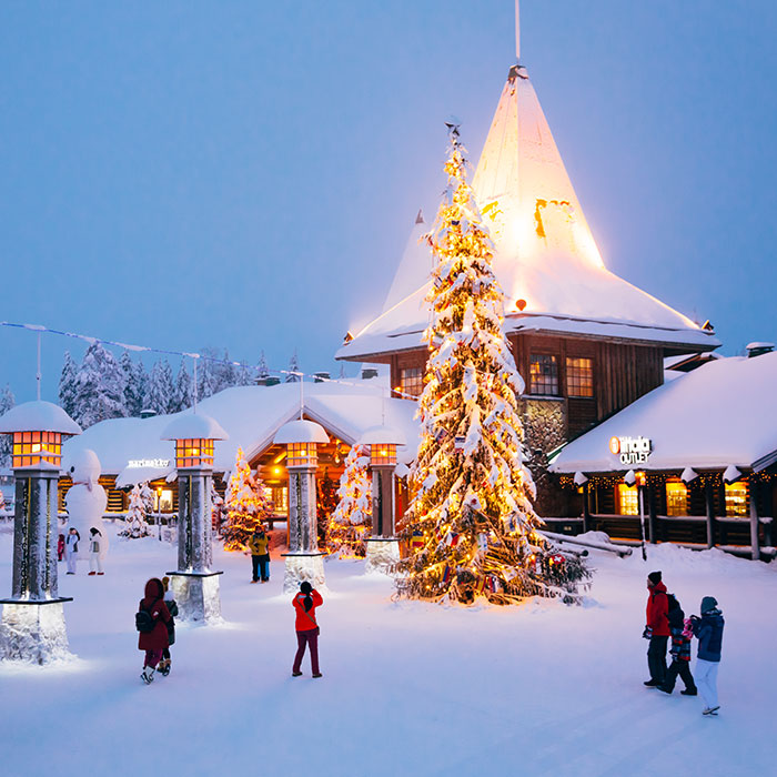 The central plaza in Santa Claus Village, Rovaniemi, Lapland, Finland