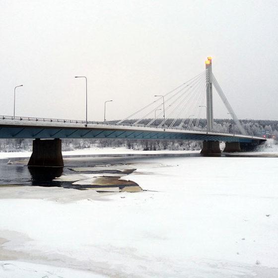 Beware of thin ice close to the Jätkänkynttilä bridge in Rovaniemi, Lapland, Finland