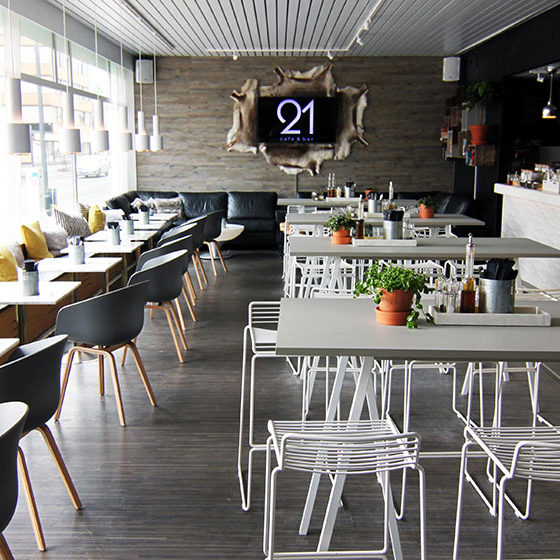 The main room in Cafe Bar 21 in Rovaniemi, Lapland, Finland