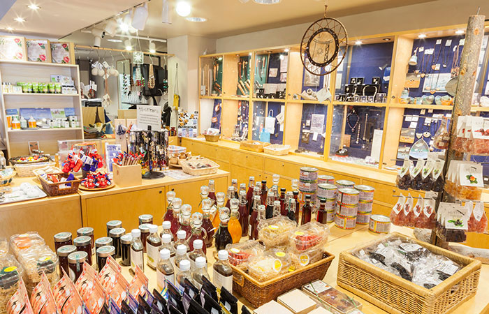The shop in museum and science centre Arktikum in Rovaniemi, Lapland, Finland