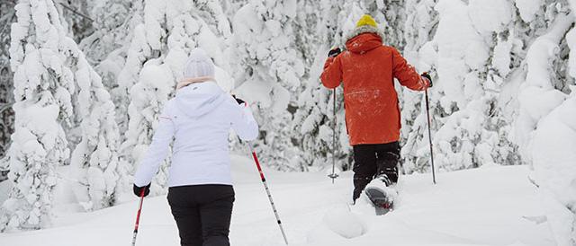 visit-rovaniemi-snowshoeing-forest-couple