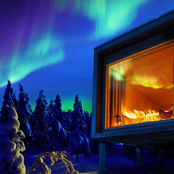 Rovaniemi, the Official Hometown of Santa Claus offers several unique forms of accommodation in Lapland, Finland. Arctic TreeHouse Hotel pictured.