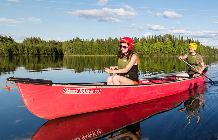 Paddling in the summer in Rovaniemi, the Official Hometown of Santa Claus