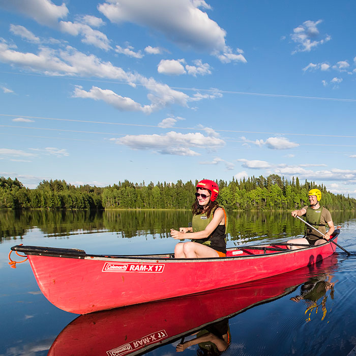 Paddling in the summer in Rovaniemi, Lapland, Finland