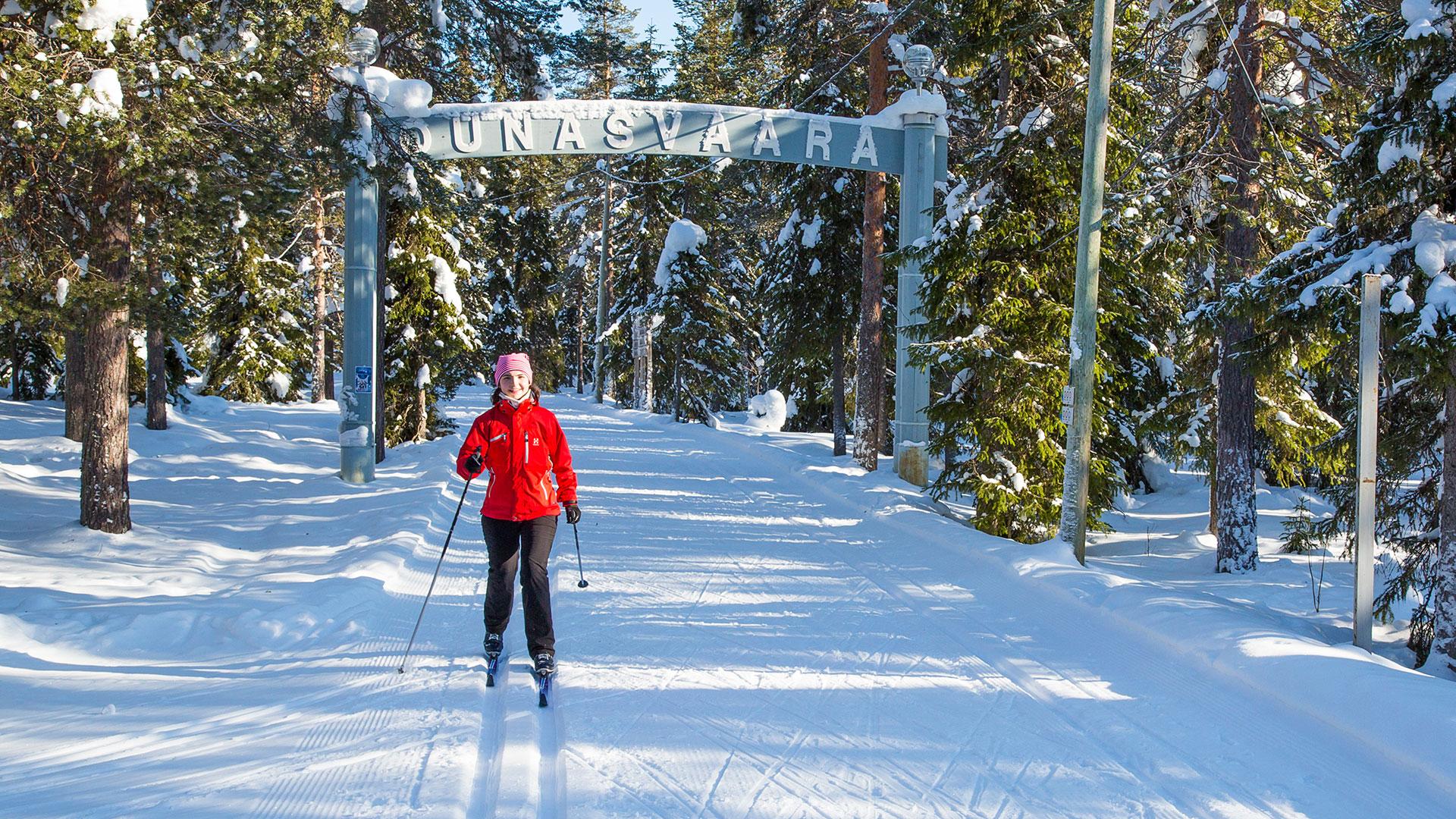 Cross-country skiing in Ounasvaara outdoor area in Rovaniemi, Lapland, Finland
