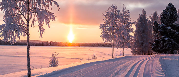 Frozen river and winter landscape in Rovaniemi, Lapland, Finland